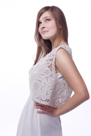 Young woman in vest in lace and linen cloth Stock Photo - 12936367