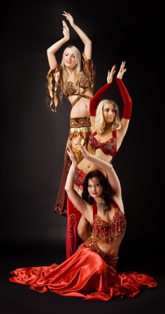 nude stomach: Three young beauty woman  dance in arabic costume