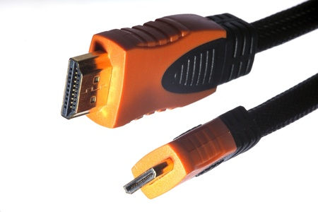 hdmi: hdmi and mini-hdmi  cable isolated Stock Photo