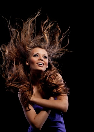 happy beauty young girl with long hair smile Stock Photo - 8658109
