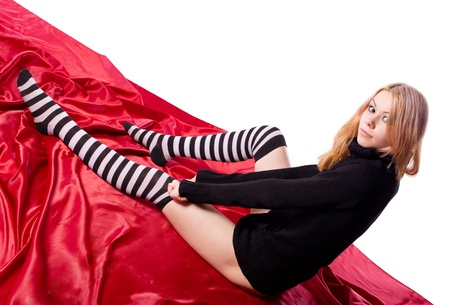 Young girl dress striped socks look at you photo