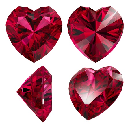 ruby red heart shape isolated different views photo