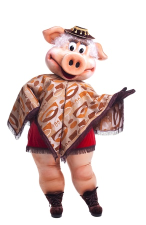 Pig mascot costume dance in poncho isolated Stock Photo - 8872381