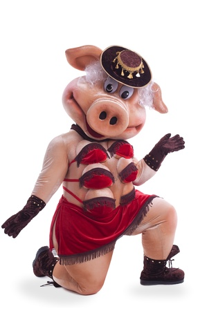 Pig mascot costume dance striptease in hat photo