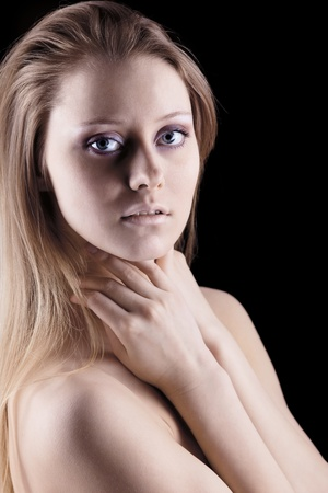 Young beauty naked sadness blond girl look at you Stock Photo - 9070045