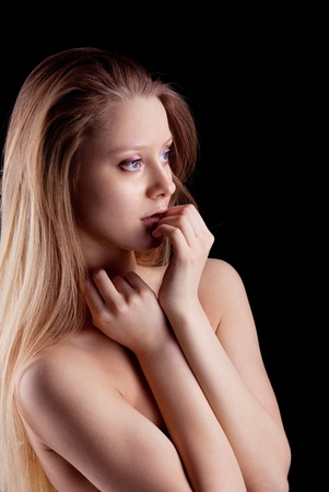 young naked sadness blond girl look at light Stock Photo - 9070044