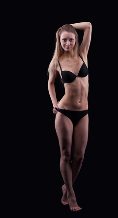 Young beauty  blond girl in lingerie - walk in dark Stock Photo - 9181181
