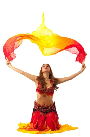 young woman dance with fantail in traditional indian costume Stock Photo - 9181296