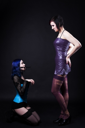 Girl in dog slave role play fetish games - gothic style photo