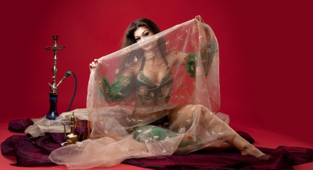 harem: beauty young woman with hookah sit on veil in red