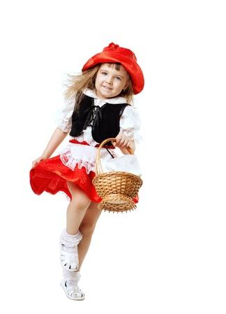cute little girls: Traje de ni�o Caperucita poco ejecutar con cesta aislado