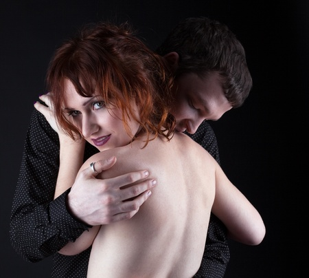 Young man and woman - lovers portrait photo