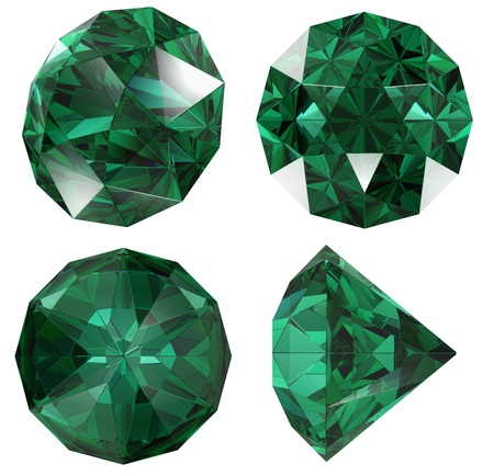 refraction: Emerald  gem isolated different views with refraction