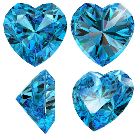 Blue heart diamond cut gem isolated different views with refraction photo