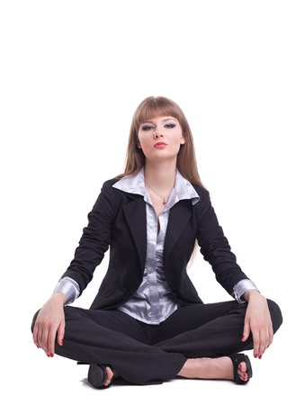 young tall business woman relax in yoga asana isolated Stock Photo - 9578214