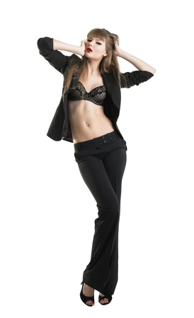 Young tall beauty sexy girl in business suit and lingerie isolated Stock Photo - 9578213