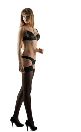 Tall beauty young woman posing in lingerie isolated Stock Photo - 9579281