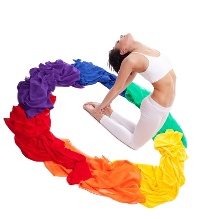 chakra: Rainbow color of yoga chakra - beauty woman inside isolated