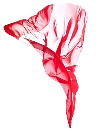 Red transparent flying veil isolated on white