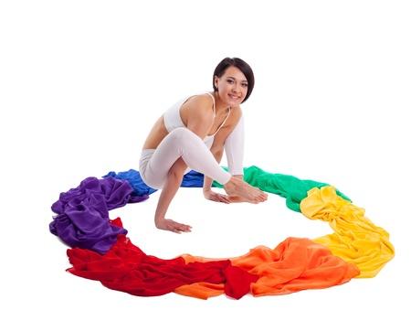 Rainbow color of yoga chakra - beauty woman inside isolated Stock Photo - 9793746