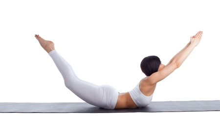 woman exercise bend yoga pose on rubber mat isolated photo