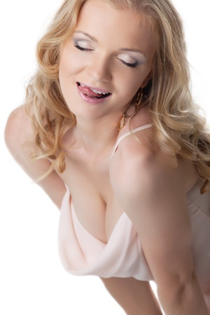 sexy nude blonde: Pretty woman portrait with sexy tongue lick herself
