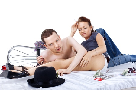 adult man and woman on bed at morning alcohol withdrawal syndrome photo