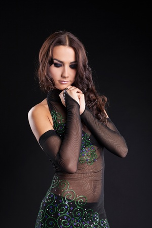 portrait of attractive woman in arabic oriental costume from dark Stock Photo - 10624646