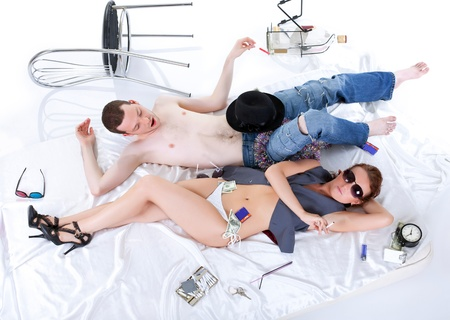 hangover: man and woman with alcohol withdrawal syndrome hangover