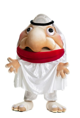 funny arab mascot costume smile doll isolated photo