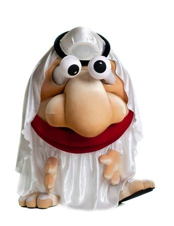 funny arab mascot costume with moving eyes isolated photo