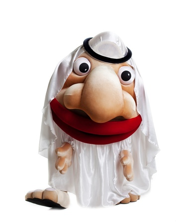 oriental white arabian mascot costume isolated with moving eyes photo