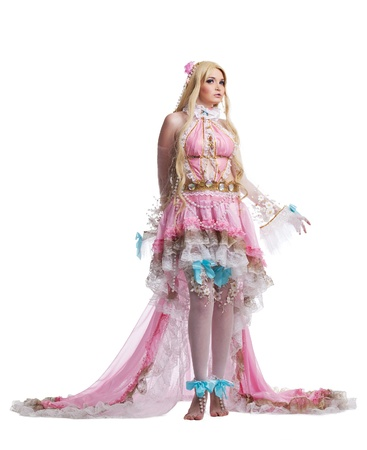 cosplay: Young girl in fairy-tale doll cosplay costume portrait isolated