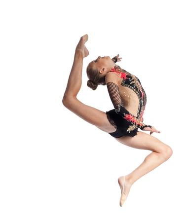 string bikini: Young teenager girl doing gymnastics exercise with hoop isolated