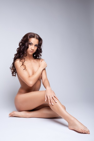young girl nude: Perfect nude young woman show sexy body for art photography Stock Photo