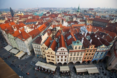 czechia: View from The Old Town Square on roofs of Prague City Stock Photo