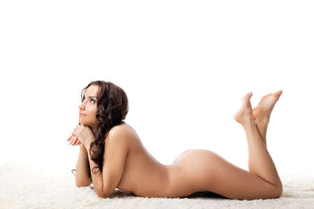 naked woman  white background: Beautiful bare woman with perfect body posing on white