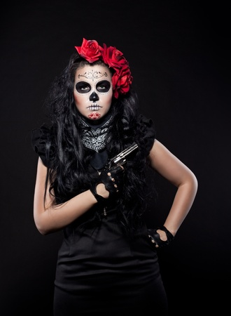 neagtive woman portrait wearing with roses dressed up for All Souls Day photo