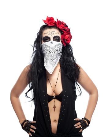 Young woman wearing with roses dressed up for All Souls Day hide face isolated
