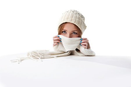 happy blond woman hide with white scarf look at camera Stock Photo - 11566836