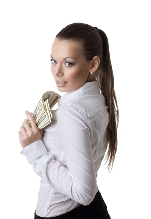 young sexy business woman kiss a bundle of money isolated Standard-Bild