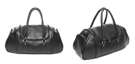 buckled: new travel bag fashion case black leather isolated