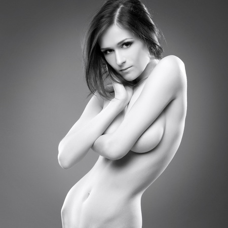 undressed: Beautiful sexy young woman nude erotic portrait black white