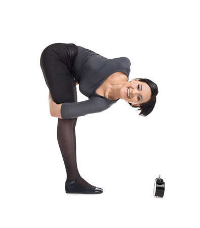 yong business woman stand in asana time management yoga isolated photo