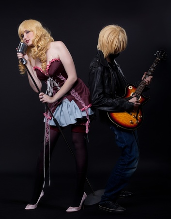 lolita: couple of musician - anime cosplay character - young