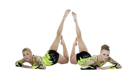 acrobat gymnast: two high skill acrobats woman funny portrait isolated