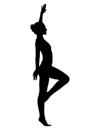 gymnastics sports: Young woman dance in lingerie silhouette isolated