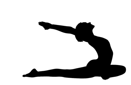 young woman training in yoga asana - pigeon pose isolated Vector