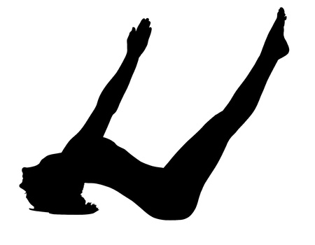 young woman lay in yoga asana - fish pose isolated Vector