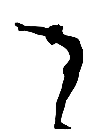 pilates: young woman training in yoga - urdhva hastanasana stand pose isolated